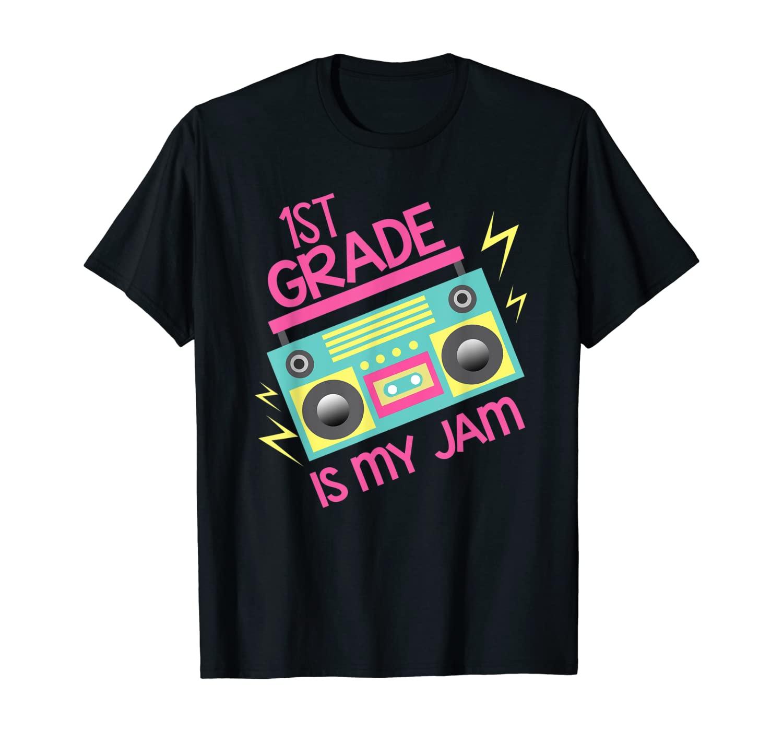 Retro 80's 90's Boombox Design 1st Grade Is My Jam T-Shirt