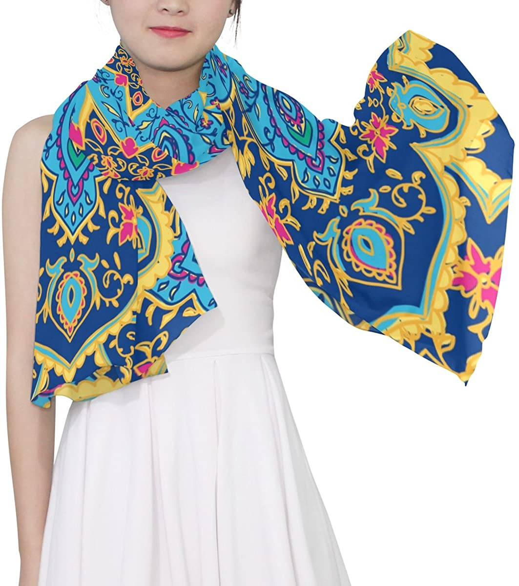 WellLee Tribal Mandala Floral Print Sheer Scarves Shawl Wrap Women Oblong Chiffon Scarf for Outdoor