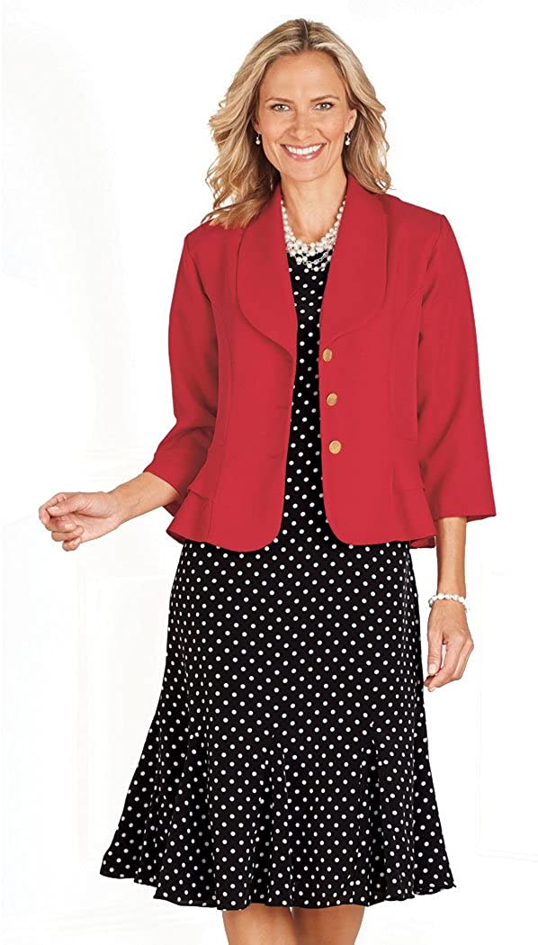 ANTHONY RICHARDS Women's Two Piece Outfit - Knee Length Dress & Short Jacket Red/Black Dot 16 Misses