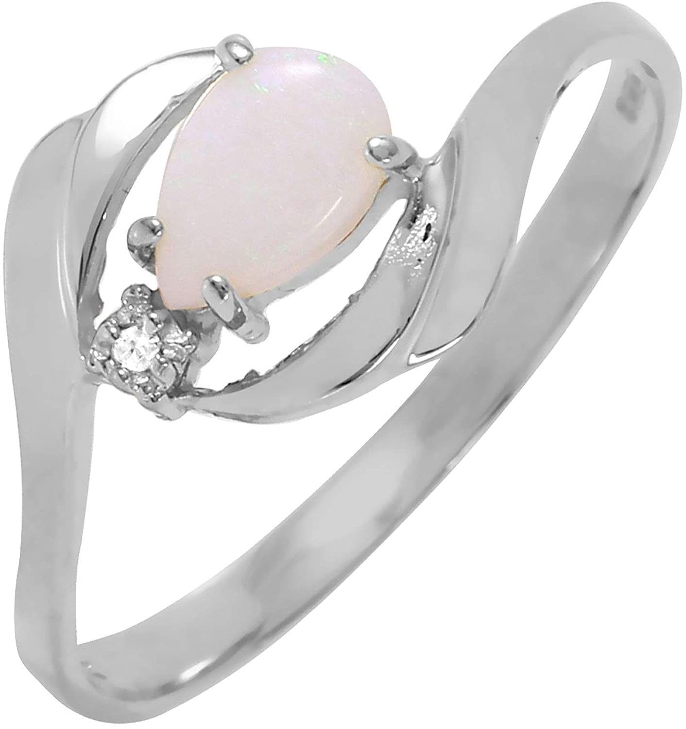 Galaxy Gold 0.26 Carat 14k Solid White Gold Ring with Natural Diamond and Pear-Shaped Opal - Size 7
