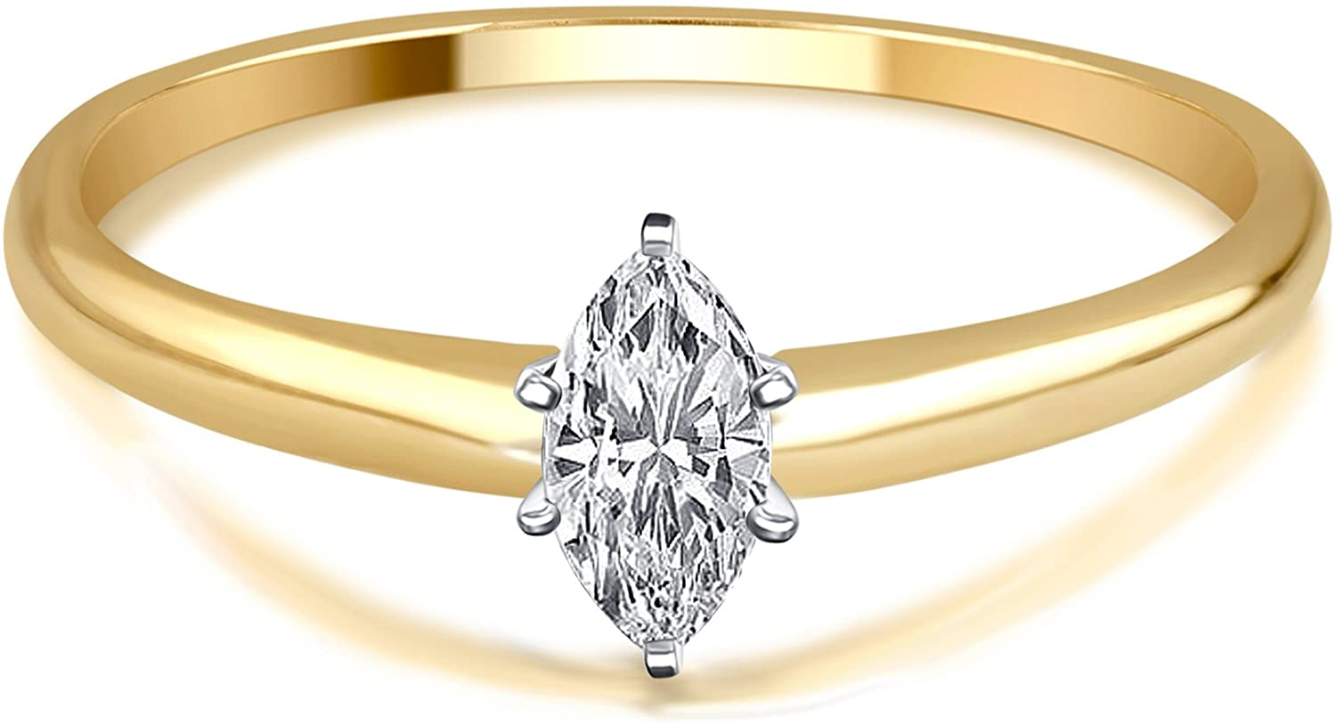1/4 Cttw Marquise Diamond Solitaire Ring in 14K Yellow Gold