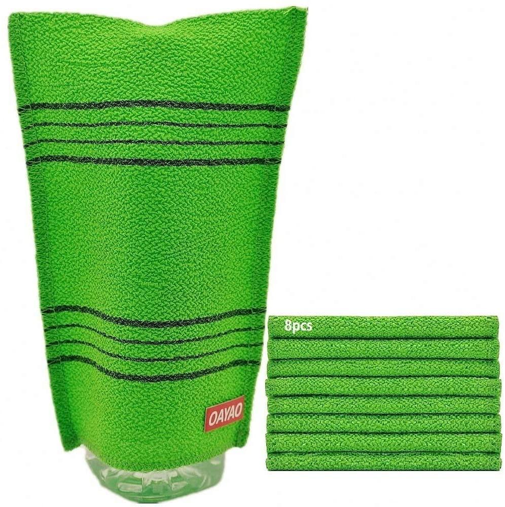 OAYAO Korean Exfoliating Washcloth Towel Large (8pcs) Exfoliating Scrub Bath Mitt Cloth