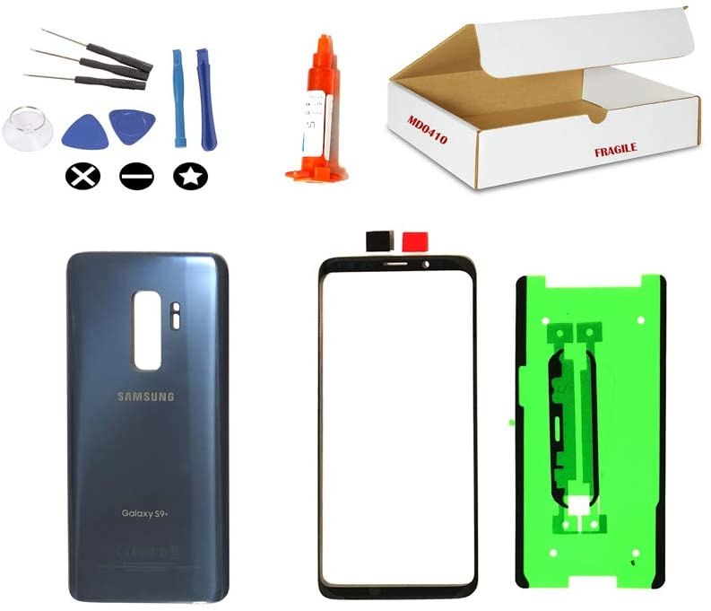 (md0410) Replacement Compatible with Galaxy S9 Plus G965 - Front Outer Glass Lens, Coral Blue Back Cover + Repair Tools Kit (LCD Screen & Touch Digitizer Not Included)