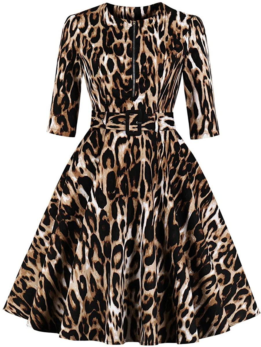 BBrand Women's 3/4 Sleeve Zipper Belt Pocket Leopard Print Vintage Dress