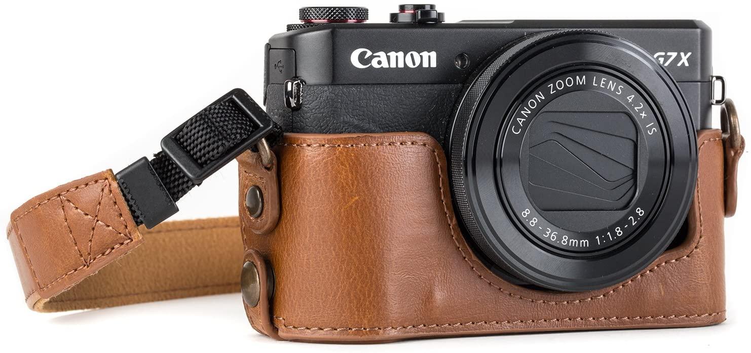 MegaGear Canon PowerShot G7 X Mark Ii Pu Leather Camera Case, Light Brown (MG953)