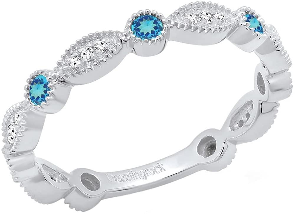 Dazzlingrock Collection 14K Round Gemstone & White Diamond Ladies Vintage Style Stackable Wedding Band Ring, White Gold