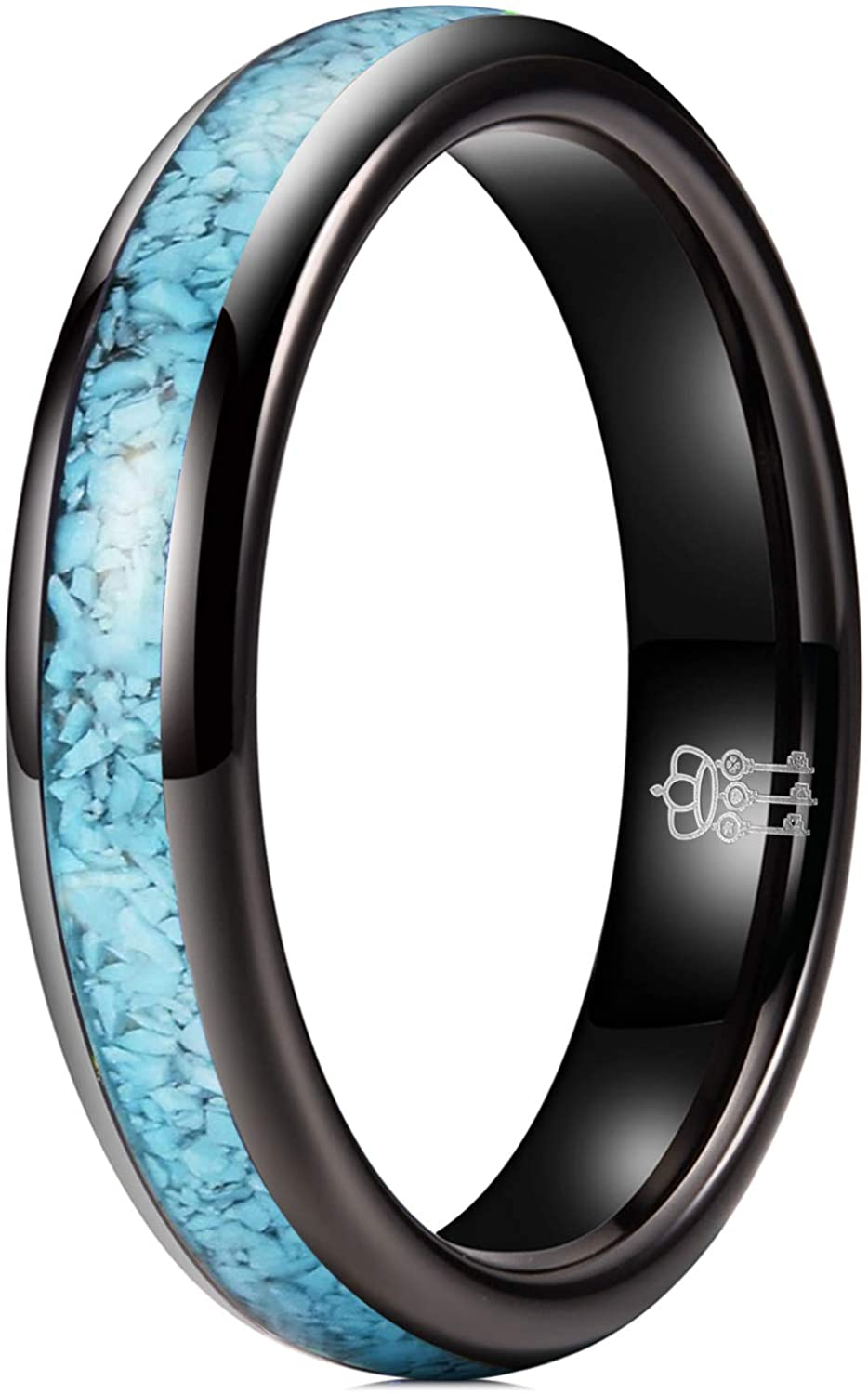 THREE KEYS JEWELRY Mens Womens Tungsten Ring 4mm 6mm 8mm Turquoise Granules Inlay Silver Black Rose Gold Wedding Band