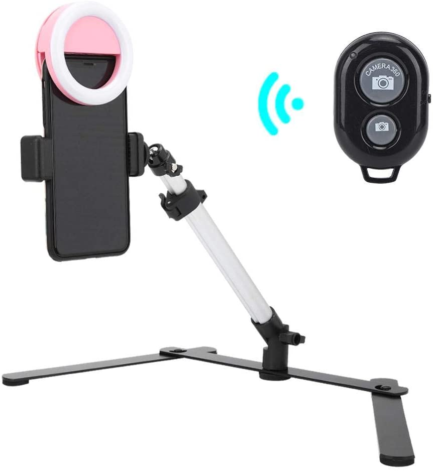Phone Live Bracket, Table Phone Live Bracket Down Shot Photography Video with Fill Light 5600k Bluetooth Remote Control Smartphone Clip Kit for Live Shooting Macro, Jewelry, Teaching
