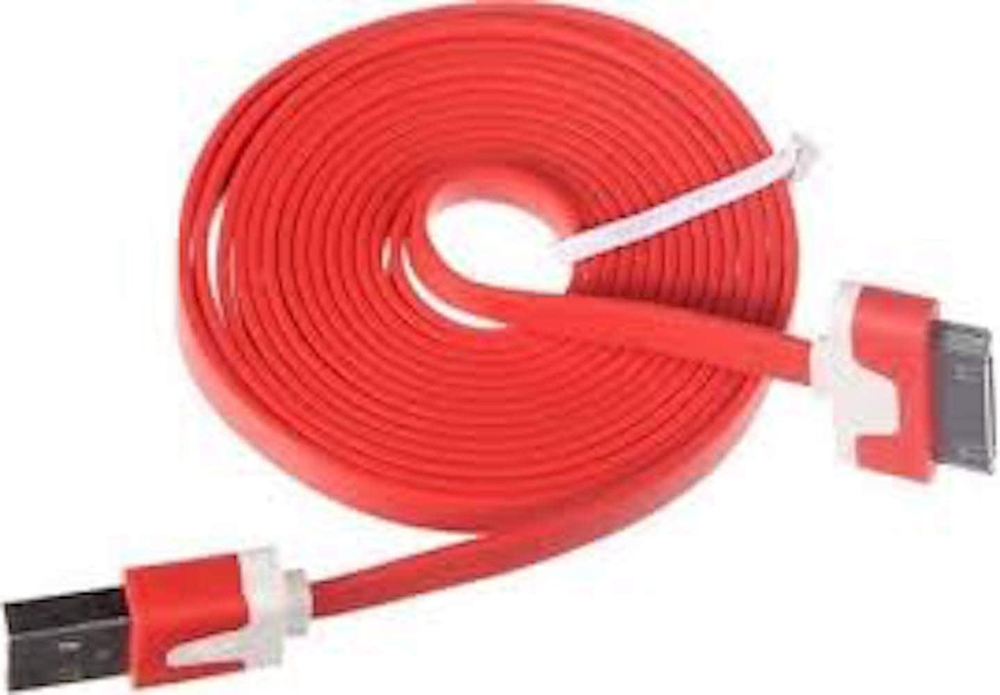 New Tech Junkies NTJ 1m (3ft) Flat USB Data Sync Charger (RED)