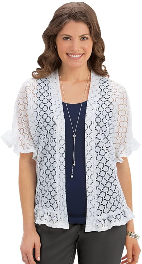 Short Sleeve Ruffle Lace Jacket