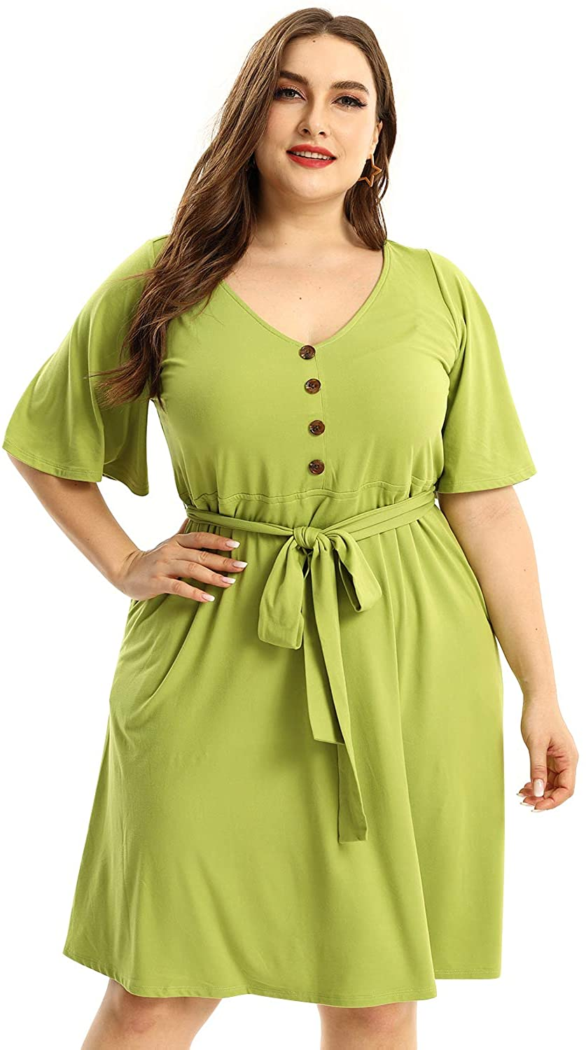 URBAN AFFAIR Women's Plus Size V Neck Short Sleeve Midi Dress Knee Length Button Front with Belt and Pocket