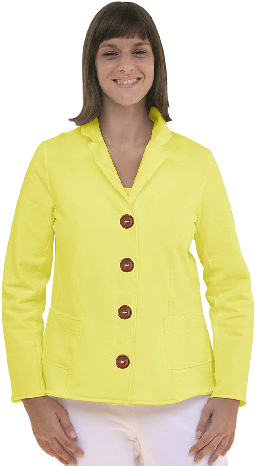 Neon Buddha Women's Lapel Collar Jacket Female Cotton Top with Pockets, Big Buttons and Exposed Seams
