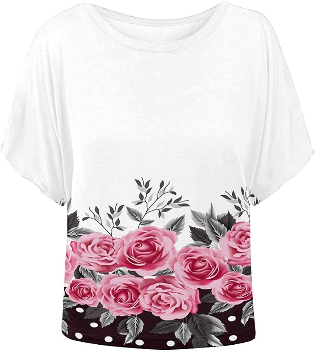 INTERESTPRINT Women Short Sleeve Tops Vintage Roses Flowers Elegant Blouse