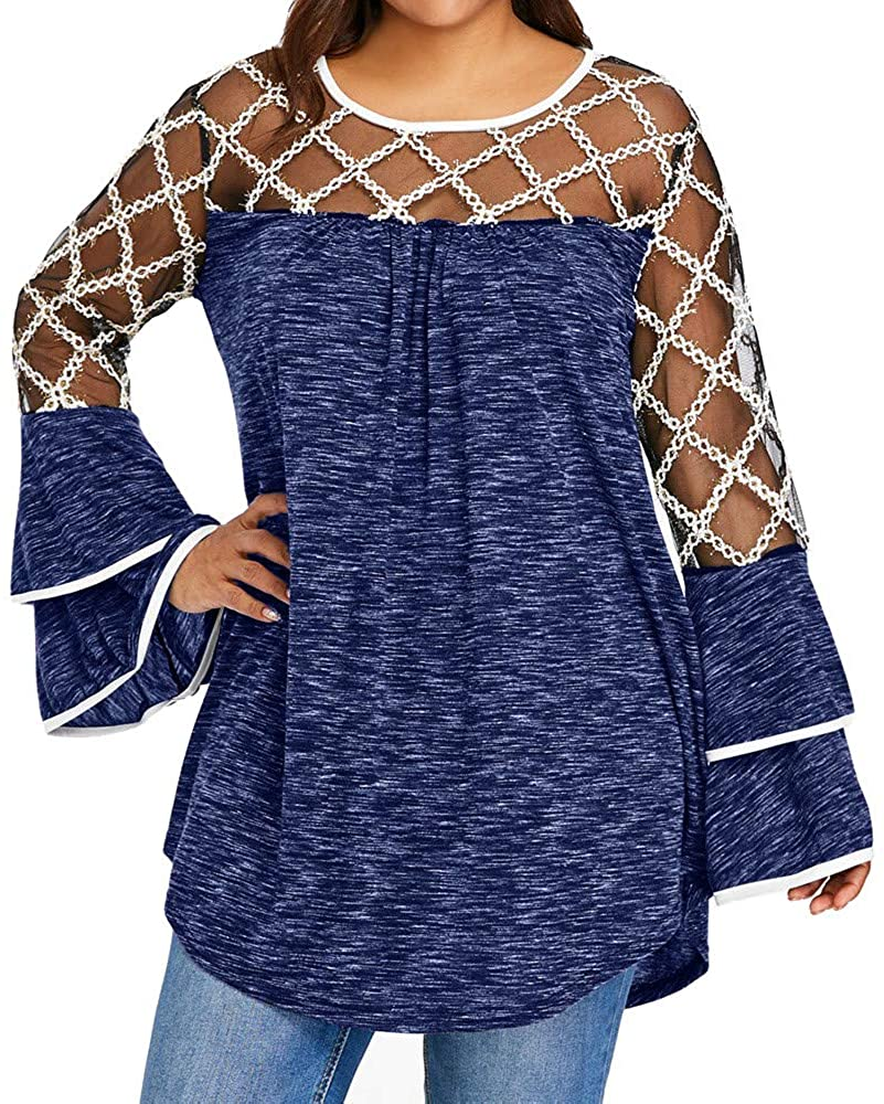 VEZAD Women Autumn Casual T-Shirt Plus Size Marled Layered Flare Sleeve Blouse