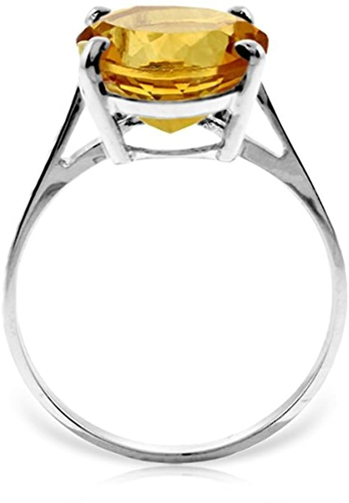 Galaxy Gold 14k White Gold Natural Citrine Solitaire Ring - Size 7.0