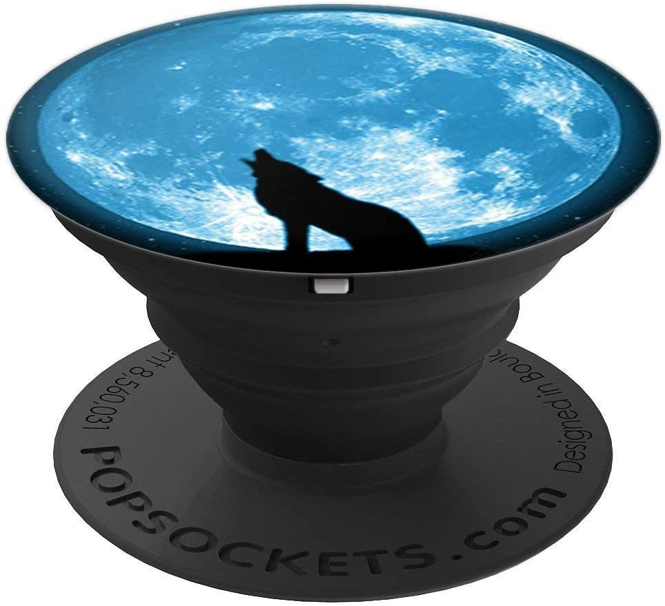 Cool Wolf Howling in Moon Design Background on Black PopSockets Grip and Stand for Phones and Tablets