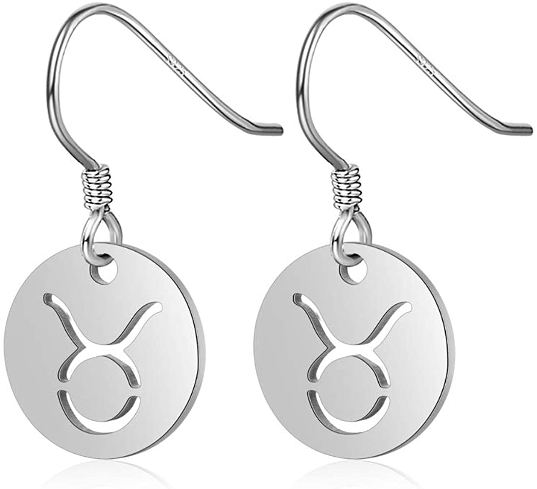 POTIY Womens Zodiac Earrings Astrology Constellation Horoscope Zodiac Charm Jewelry Birthday Gift for Her