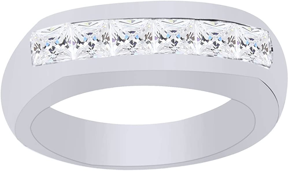 Wishrocks Christmas Holiday Sale 14K Gold Over Sterling Silver Princess Cut Cubic Zirconia Six-Stone Wedding Band Ring