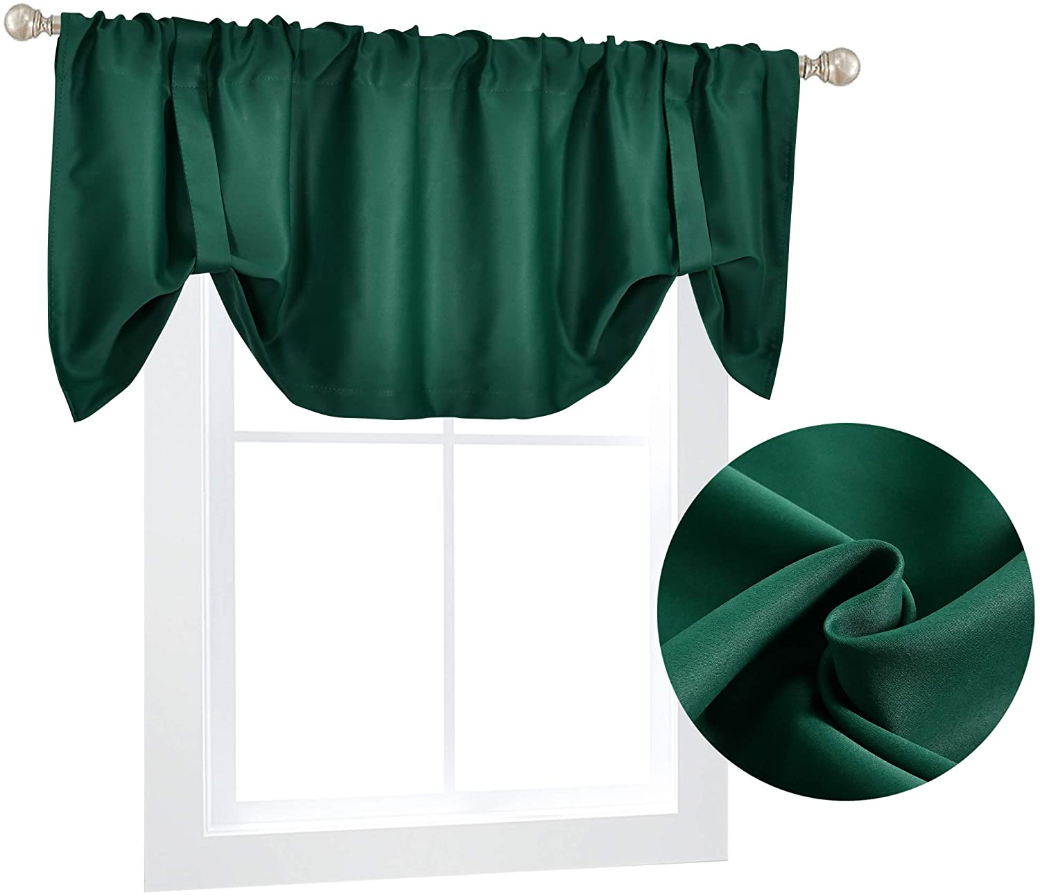 DECOVSUN Green Blackout Tie Up Shade Curtain Valance 18 Inches Long Room Darkening Adjustable Valance Window Treatments Tie-up Valances Curtains for Bedroom Kids Room 52X18 Inch 1Panel