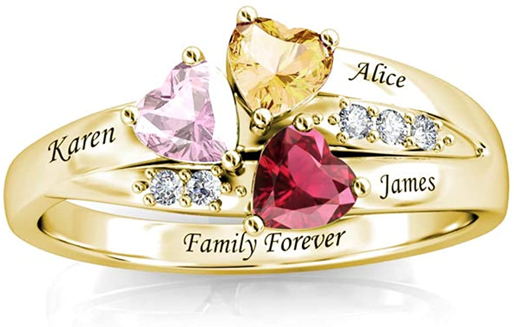 URONE Personalized 925 Sterling Silver Mothers Rings for Women,Promise Ring for Her Engagement Name Heart Shape Birthstone Rings