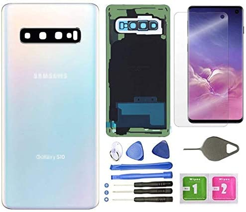 Galaxy S10 Back Glass Cover Replacement Housing Door(Waterproof) with Camera Lens and Frame +Tape Parts for Samsung Galaxy S10 SM-G973U/W/F/DS + Screen Protector +Tool (Prism White)