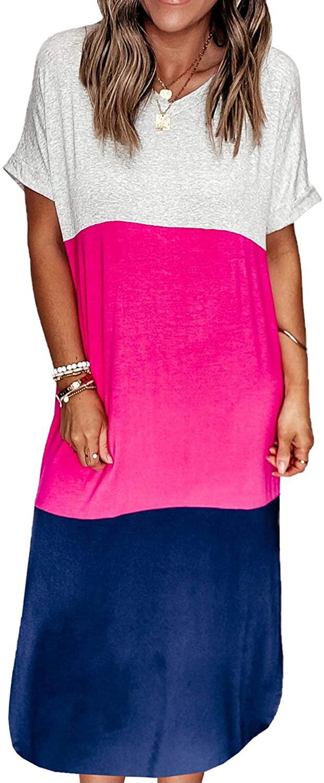 Women's Fashion Short Sleeve V-Neck Leopard Colorblock Maxi T-Shirt Dress Casual Cotton Blend Long Dress Shift Dress