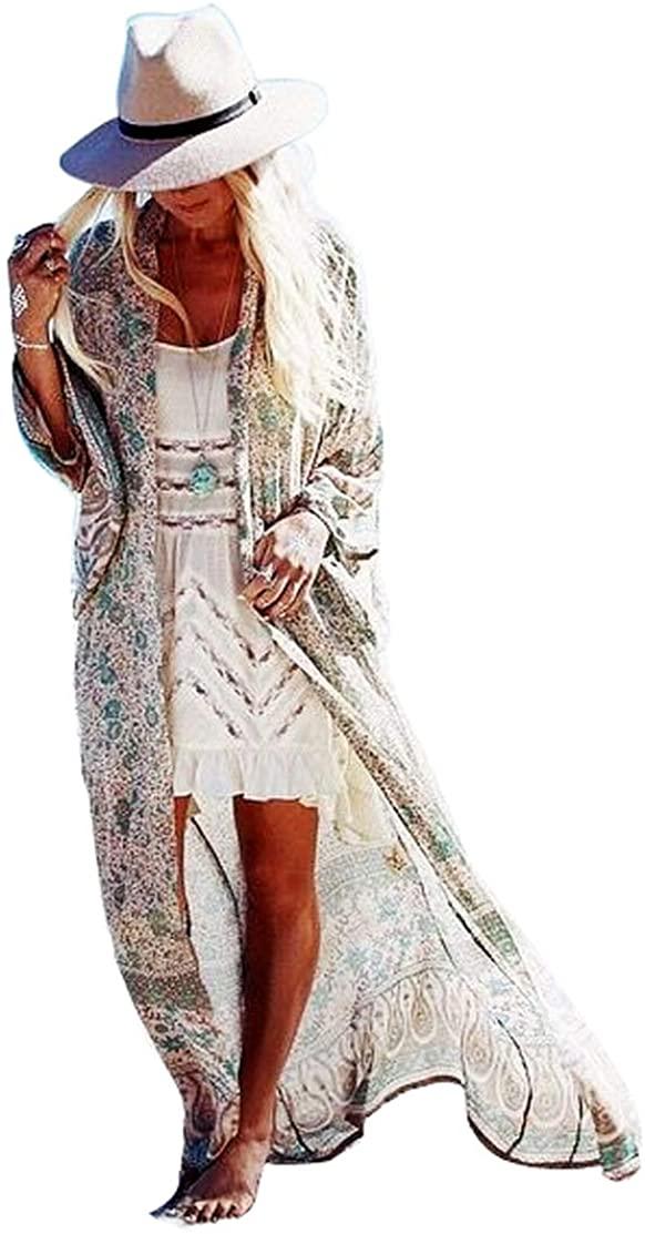 Lemon Printed Chiffon Maxi Kimono Cardigan Cover Up