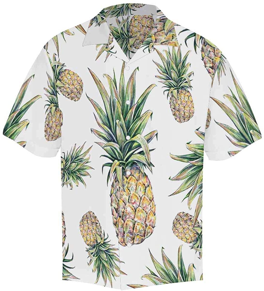 INTERESTPRINT Mens Shirt Peacock Short Sleeve Casual Button Up Mens Shirts