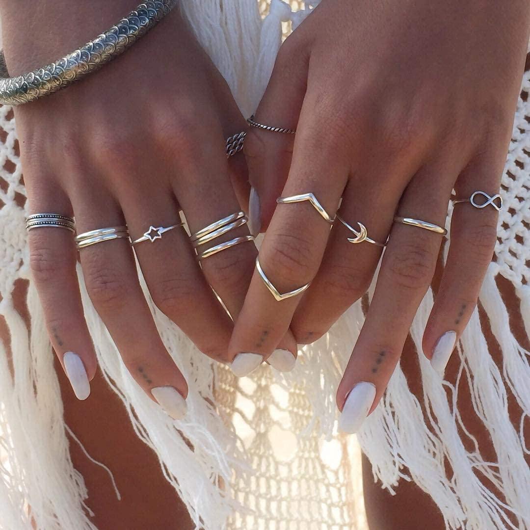 CSIYANJRY99 Boho Silver Star Moon Knuckle Ring Set for Women Teen Girls,Vintage Crystal Stackable Midi Finger Rings