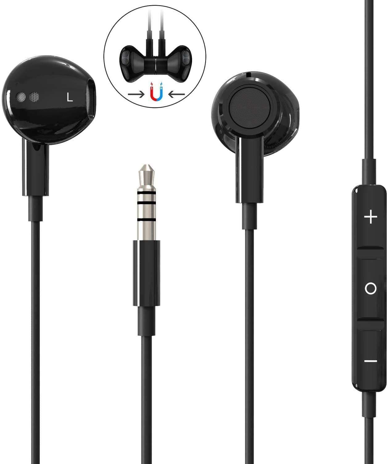 Aux Headphones,3.5mm Earphones Magnetic in-Ear Stereo Earbuds, with Microphone Noise Isolating Compatible with iPhone 6s/ 6 Plus/SE Pad/Pod 7,with All 3.5mm Interface Devices-Black