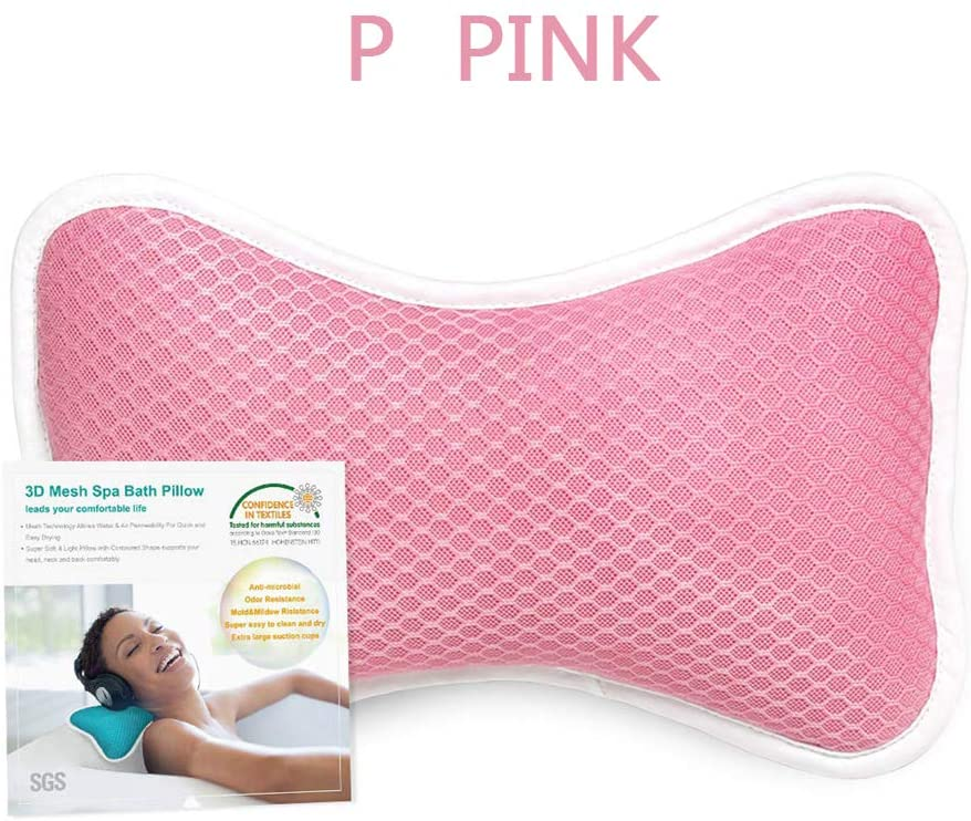 shenjin Spa Bathtub Cushion Headrest, Neck & Back Support, Quick Drying Air Mesh Bath Pillow with 2 Large Suction Cups(Pink)