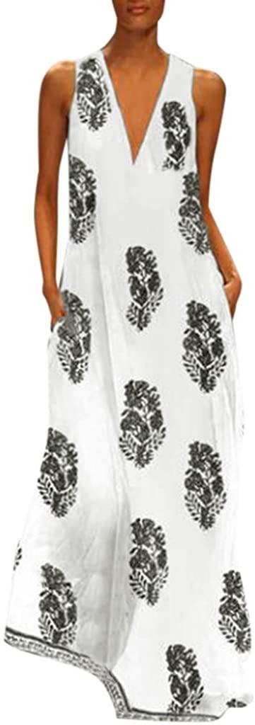 Liuxuelifg3 Casual Maxi Dresses for Women,Long Maxi Dresses for Women Gradient Color Block V Neck Casual Summer Loose Dress