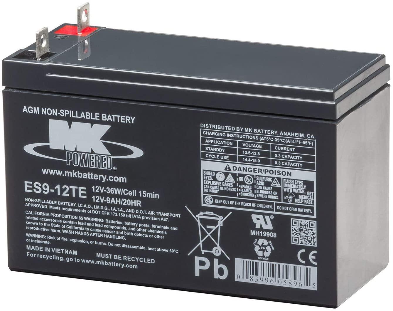 MK Battery ES9-12TE Maintenance-Free Rechargeable Sealed Lead-Acid Battery