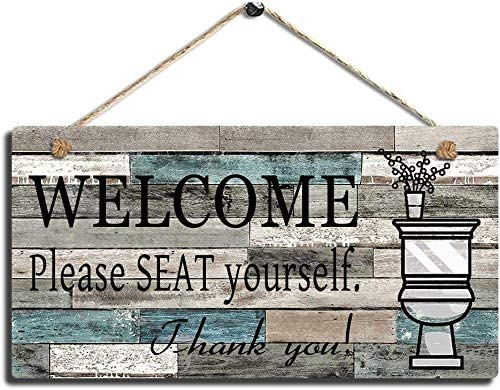 AJHERO Bathroom Wall Decor Sign-Wood Plaque Sign Wall Hanging Welcome Sign Please Seat Yourself Wall Art Sign 5 x 10 inch -2
