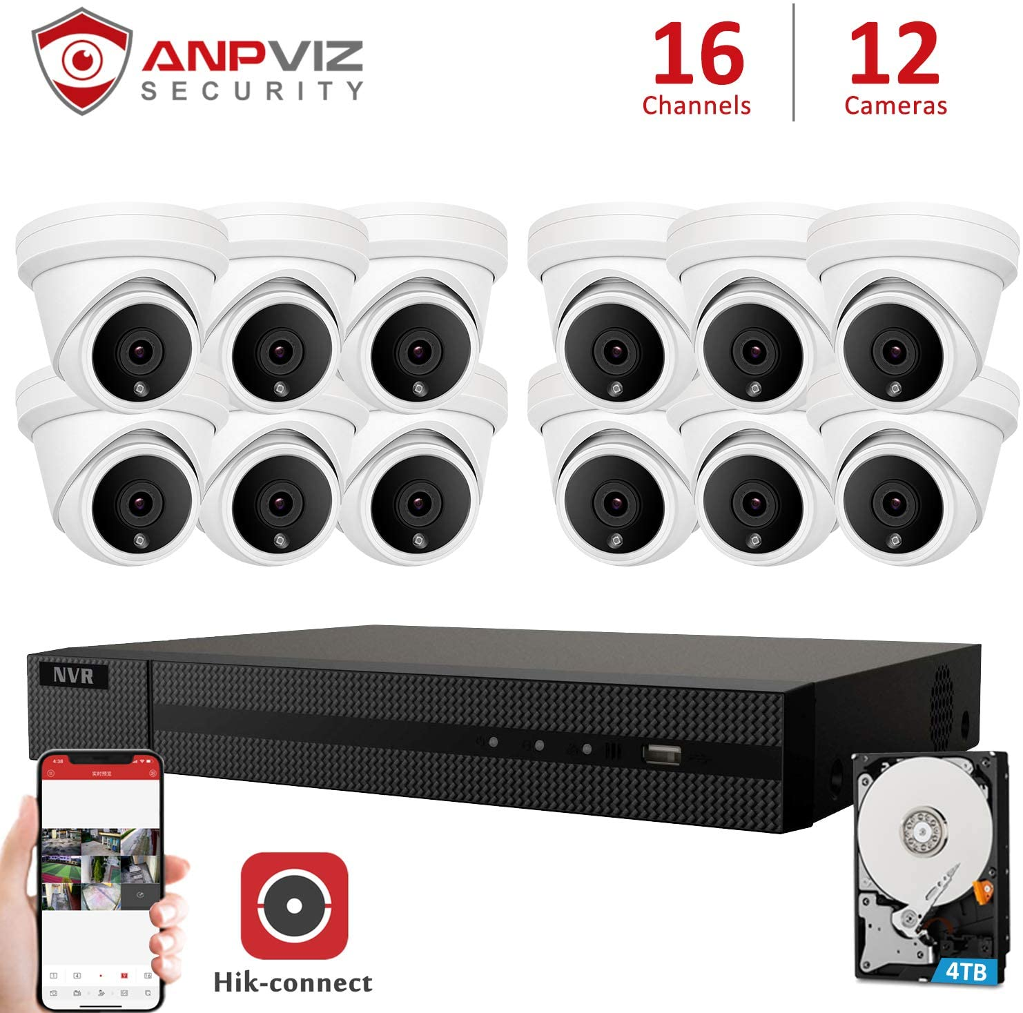 Anpviz 16 Channel 5MP Camera Security NVR System, 16CH 4K H.265 NVR with 4TB HDD with 12pcs 5MP Turret Outdoor IP POE Cameras Home Security System with Audio, Weatherproof, 98ft Night Vision