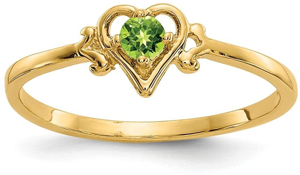 14k Yellow Gold Green Peridot Birthstone Heart Band Ring Size 7.00 S/love August Fine Jewelry For Women Gifts For Her
