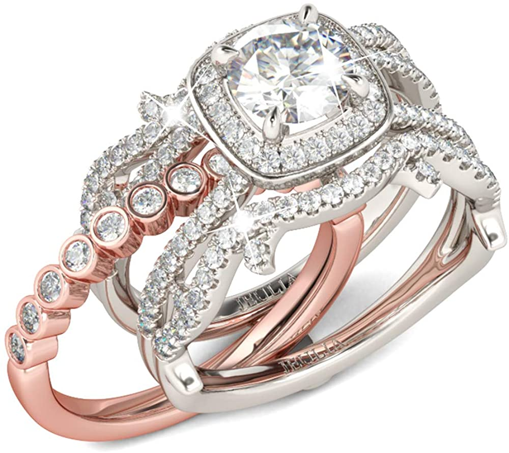 Jeulia Two Tone Interchangeable Rings Rose Gold Plated Engagement Rings Halo Round Cut Twisted Bridal Set Sterling Silver Wedding Anniversary Promise Rings