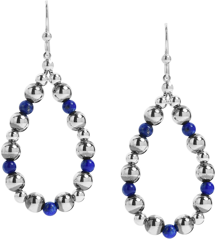 American West Sterling Silver Multi Gemstone Hoop Dangle Earrings 2-3/4 Inch
