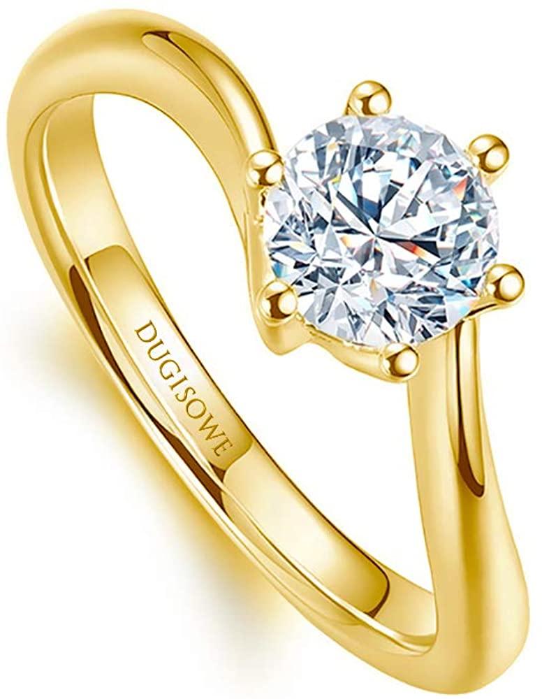 18K White Gold Ring Classic 6 Claws 1 Carat Moissanite Engagement Women Rings Personalized Engraving Name 10K 14K Gold Wedding Ring