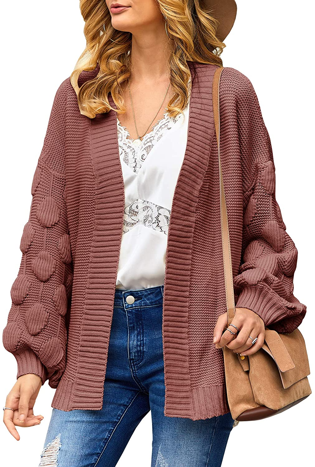 Yacooh Womens Oversized Chunky Knit Cardigan Sweaters Open Front Pom Pom Long Balloon Sleeve Solid Loose Sweater Outwear