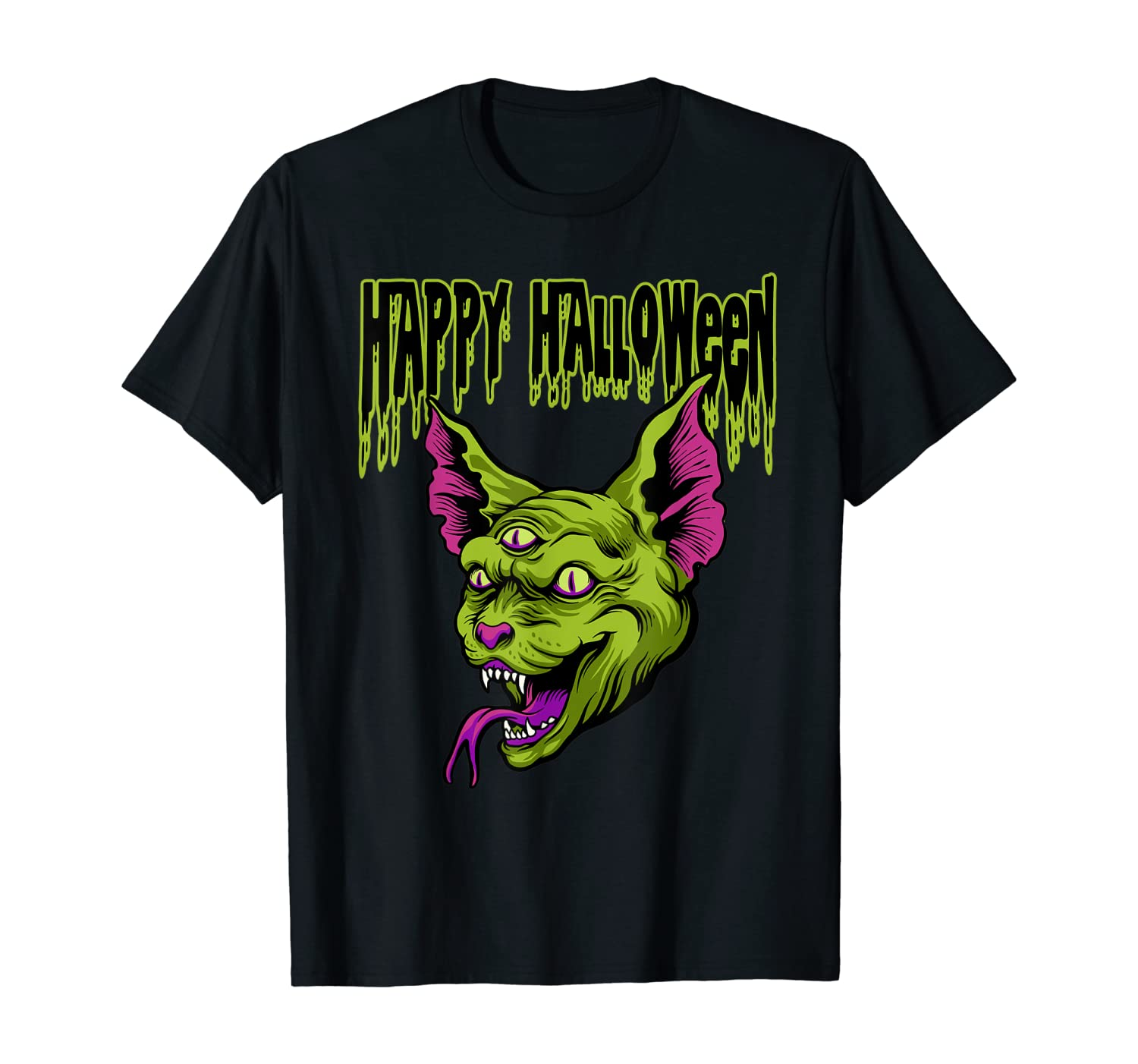 Zombie Three Eyed Cat Scary Halloween with Happy Halloween T-Shirt