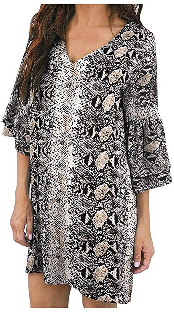 Portazai Women Summer Dresses Short Sleeve V-Neck Ruffle Loose Swing Dress Casual Party Beach Tunics T Shirt Dress