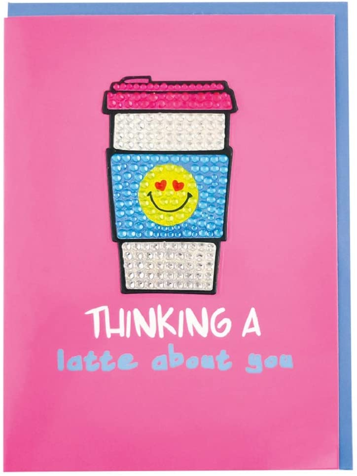 iscream Colorful 'Thinking A Latte About You' Greeting Card with Removable Rhinestone Latte Decal and Envelope