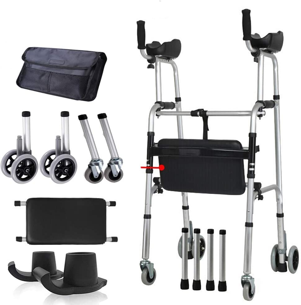 Standard Walkers FDA Certification Foldable Aluminum Alloy Adjustable Rolling Walker Assist Equipped Wheels Equipped with Arm Rest Pad Arm Drag for The Limited Mobility with Disabled