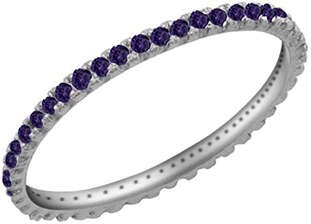 Jewel Zone US Simulated Alexandrite Eternity Stackable Wedding Ring in 925 Sterling Silver (1/5 Cttw)