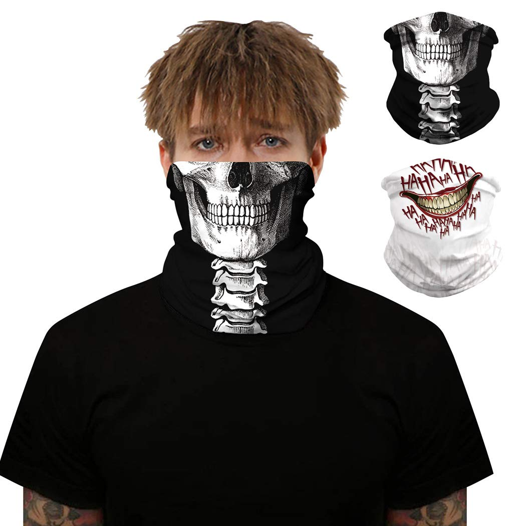 Sethexy Sport Neck Gaiter Outdoor Sport Balaclavas 2 Pack Black Seamless Face Scarf Halloween Costume Festival Hair Accessories for Women and Men