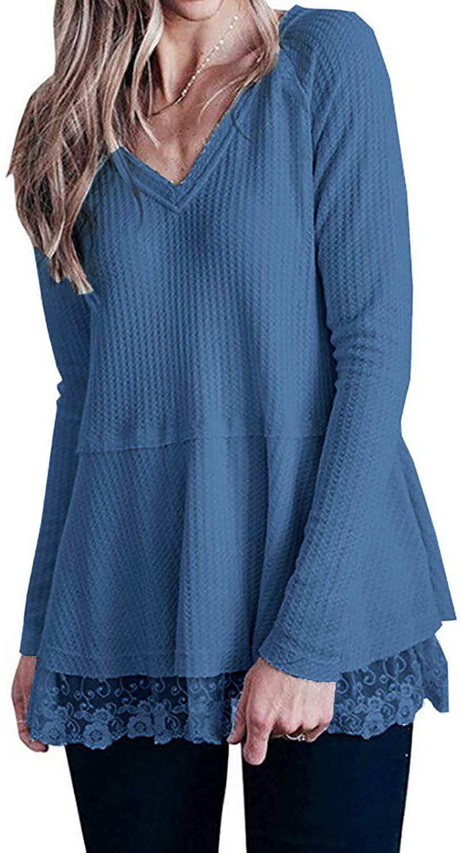 Women's Long Sleeve V Neck Waffle Knit Tops Lace Trim Casual Tunic Shirts
