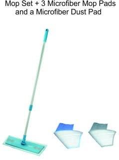 Superior Miracle Mop Set + 3 Microfiber Mop Pads and 1 Microfiber Dust Pad