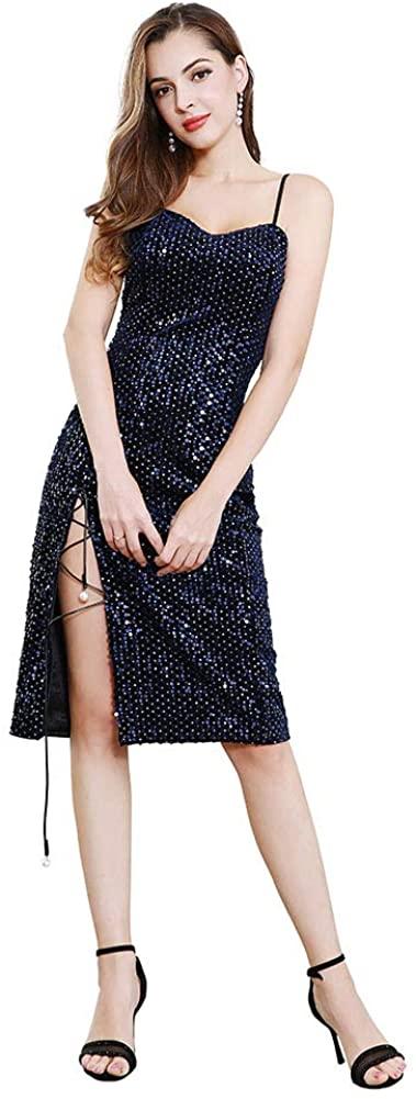 ROYAL SMEELA Glitter Sequin Dress Velvet Party Dresses for Women Spaghetti Strap Cocktail Dress Midi Dress Slit Sexy Elegant