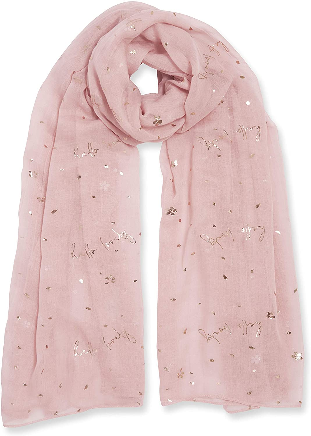 Katie Loxton Hello Lovely Womens One Size Fits Most Metallic Sentiment Scarf in Blush Pink